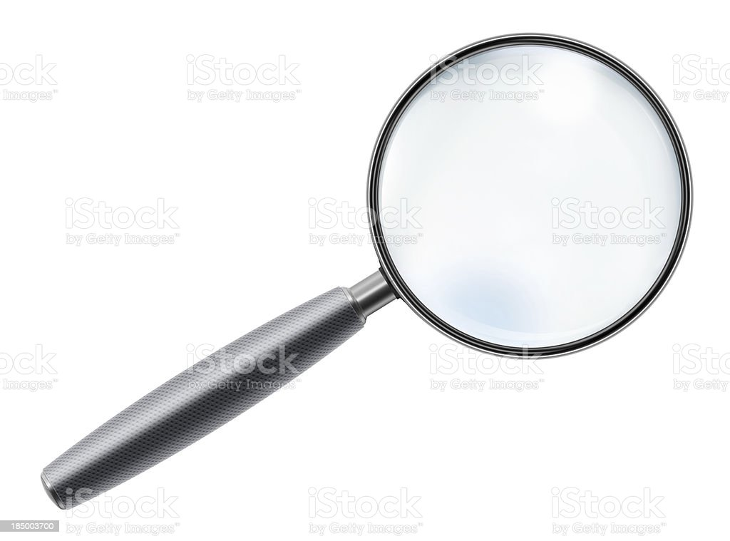 "Rubber Handle Magnifying Glass ""Rubber handle magnifying glass, isolated on white background."" Business Stock Photo"