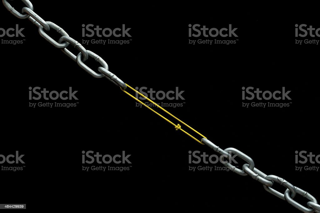 Rubber holding chain together stock photo