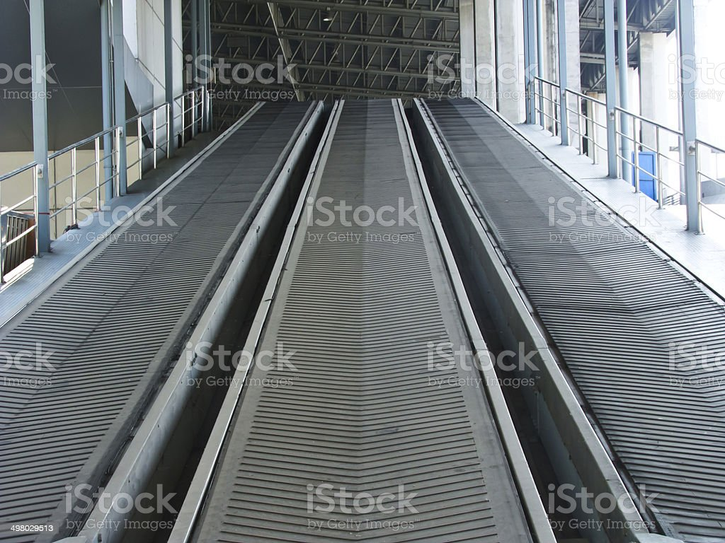 Rubber industrial conveyer belt stock photo