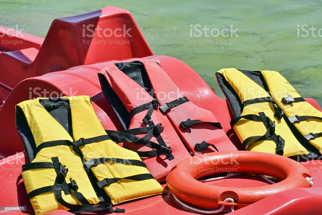 Rubber jackets and lifesaver stock photo