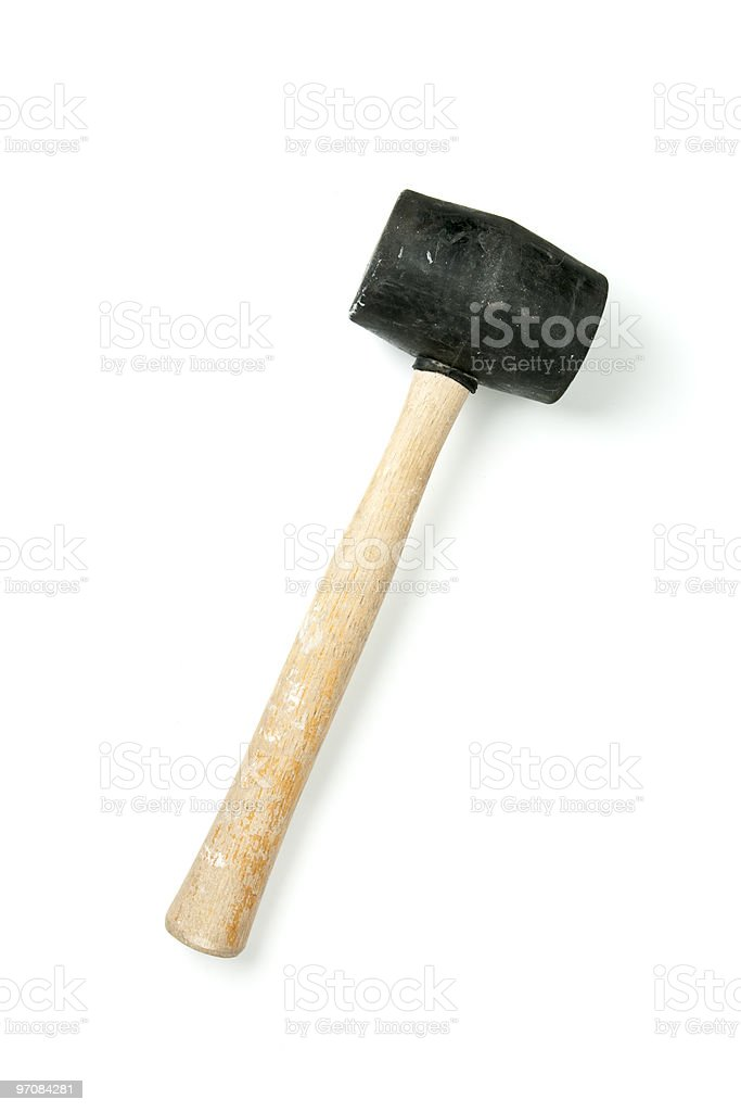 Rubber Mallet isolated on white stock photo