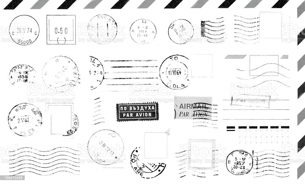 Rubber postage stamps on envelope stock photo