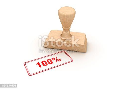 istock 100% Rubber Stamp - 3D Rendering 894337596