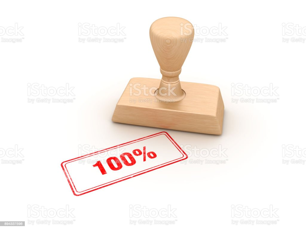 100% Rubber Stamp - 3D Rendering stock photo