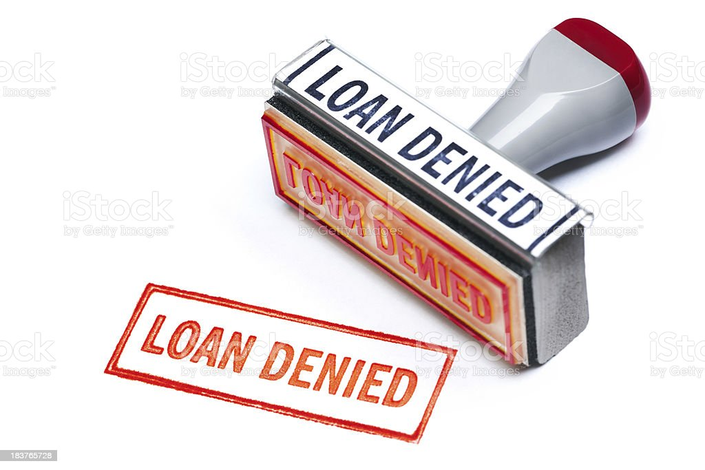 """""""LOAN DENIED"""" Rubber Stamp and Red Ink Impression on White royalty-free stock photo"""