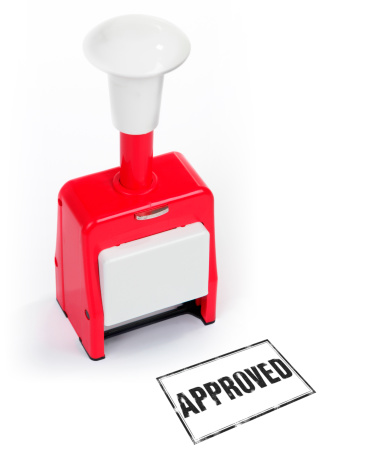 Rubber Stamp Approved on white Background