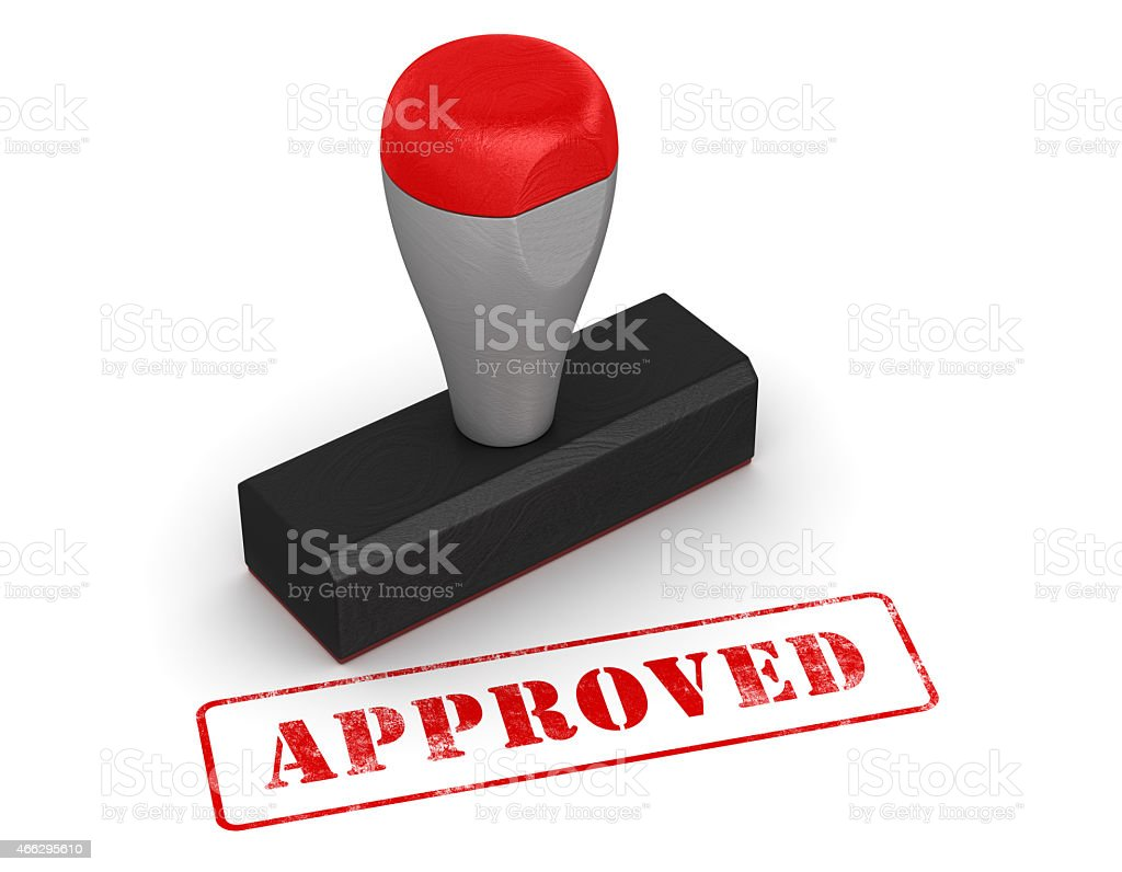 Rubber stamp - approved stock photo