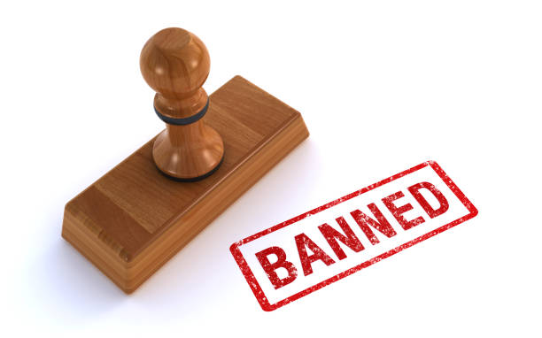 rubber stamp banned 3d rendering of a rubber stamp saying