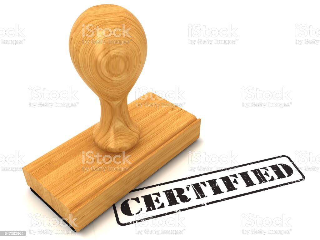 Rubber stamp certified stock photo