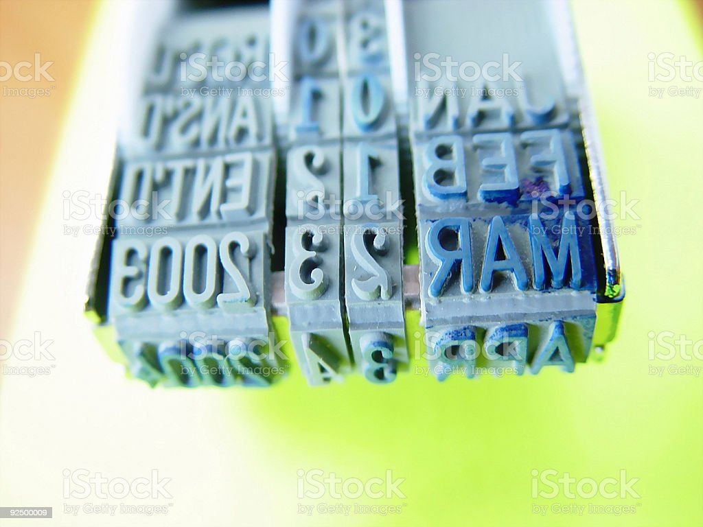 Rubber Stamp - Date 01 stock photo