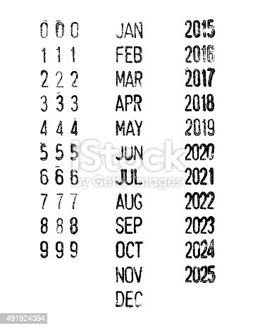 Rubber stamp dates-months-years isolated on white