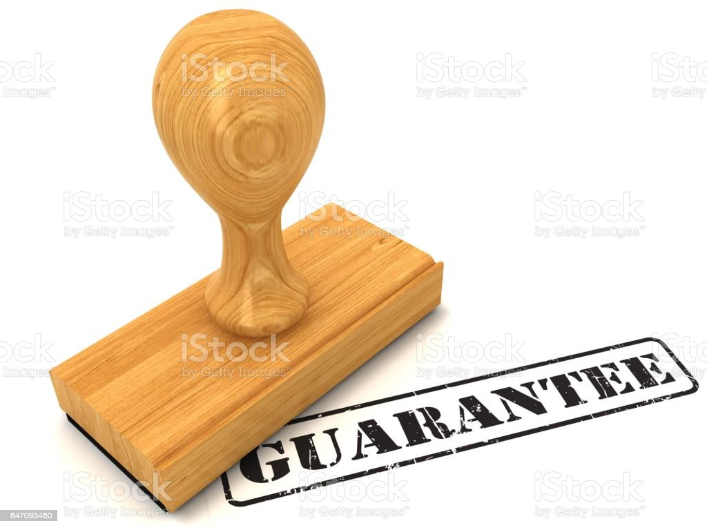 Rubber stamp guarantee stock photo
