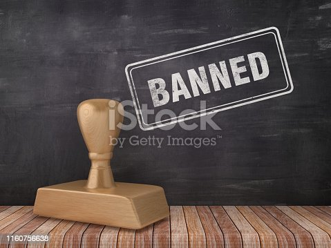 istock BANNED Rubber Stamp on Chalkboard Background - 3D Rendering 1160756638