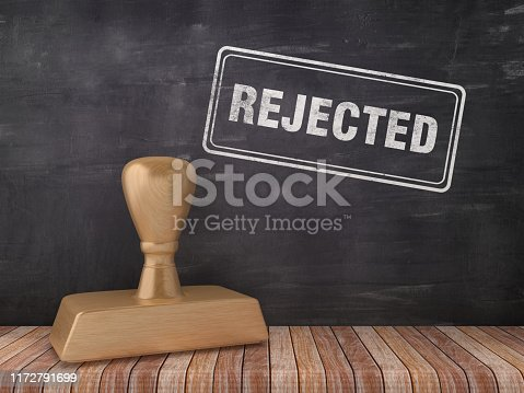 istock REJECTED Rubber Stamp on Chalkboard Background - 3D Rendering 1172791699