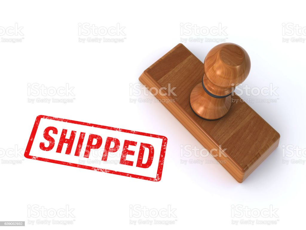 rubber stamp shipped stock photo