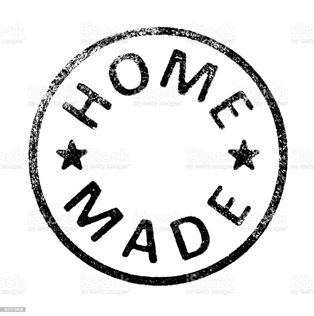 Rubber stamp with ' HOME MADE ' stock photo