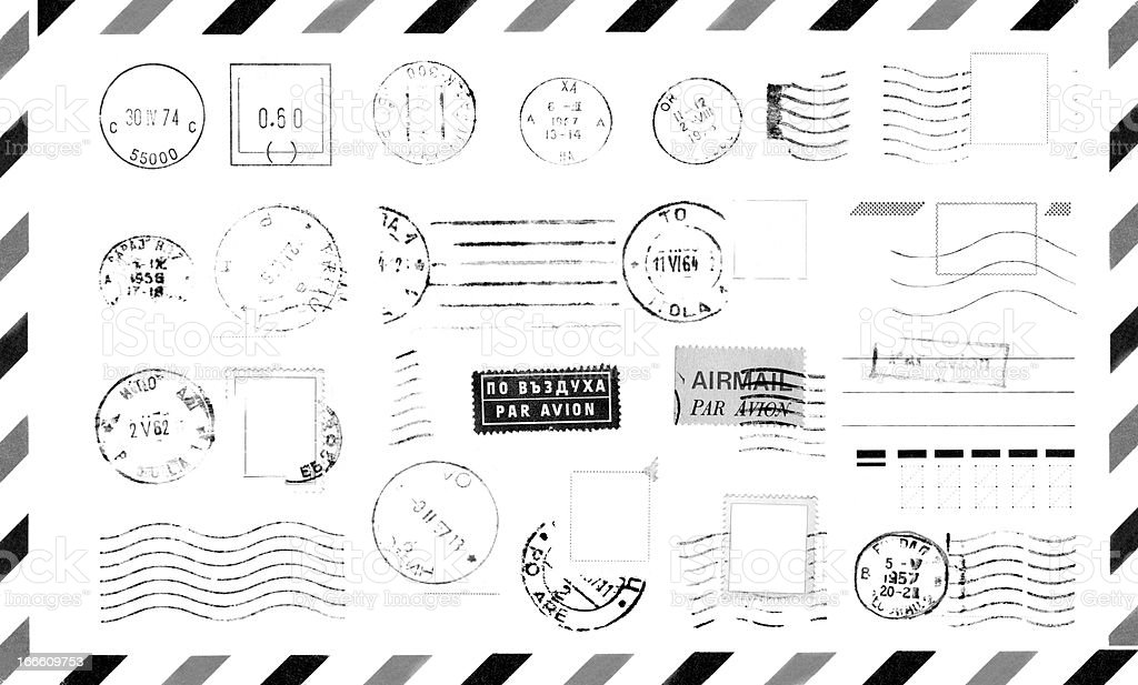 Rubber Stamps on Envelope royalty-free stock photo