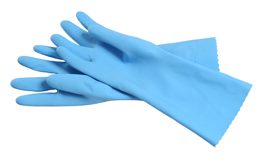 Rubber washing cleaning gloves on white