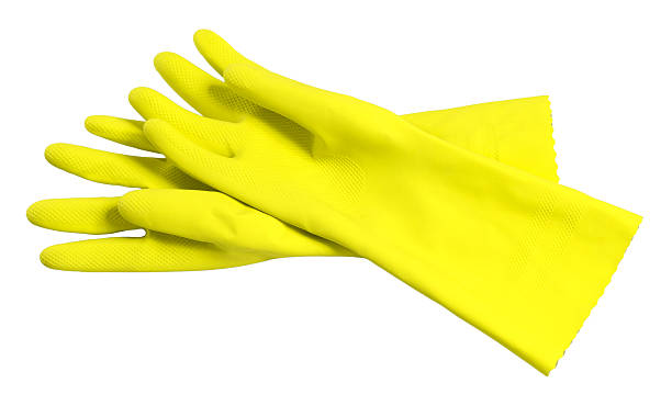 Rubber washing cleaning gloves on white stock photo