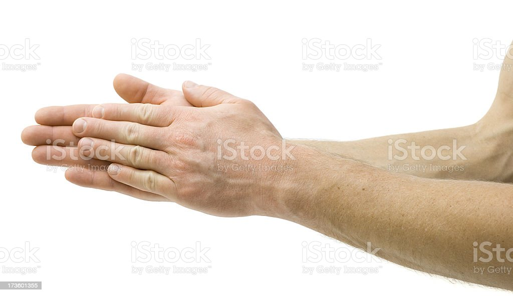 Rubbing Hands Together stock photo