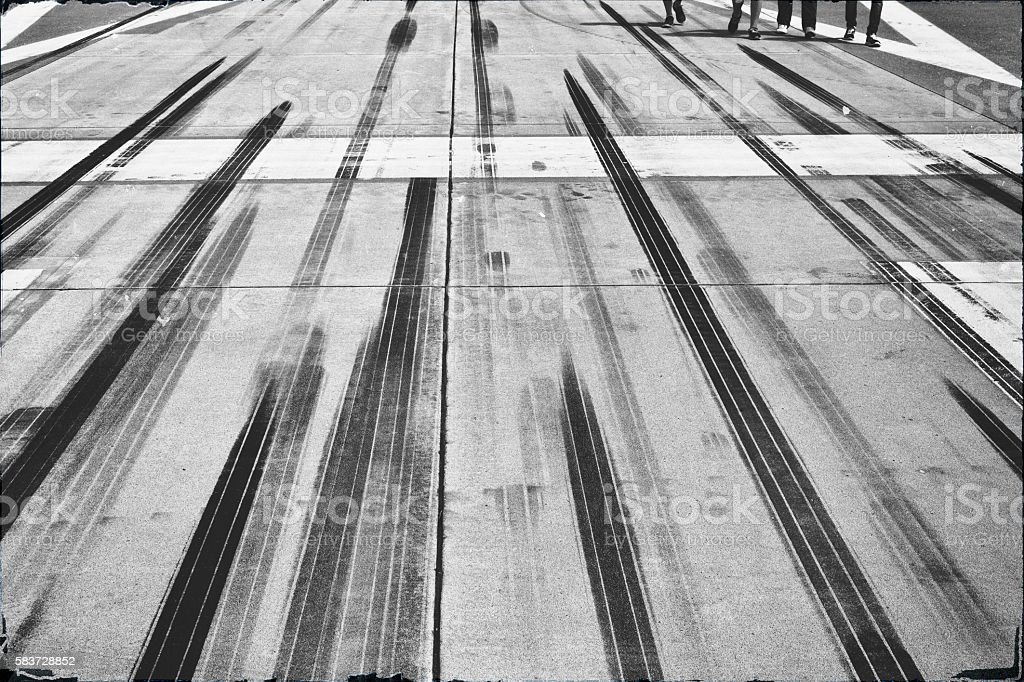 Rubbings on an airport runway stock photo