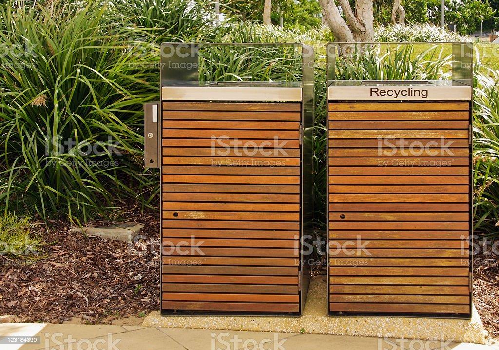 Rubbish bins in a park stock photo