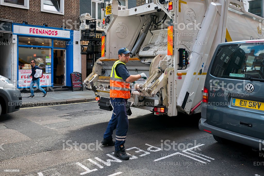 Rubbish collection in St Martin's Lane, London stock photo