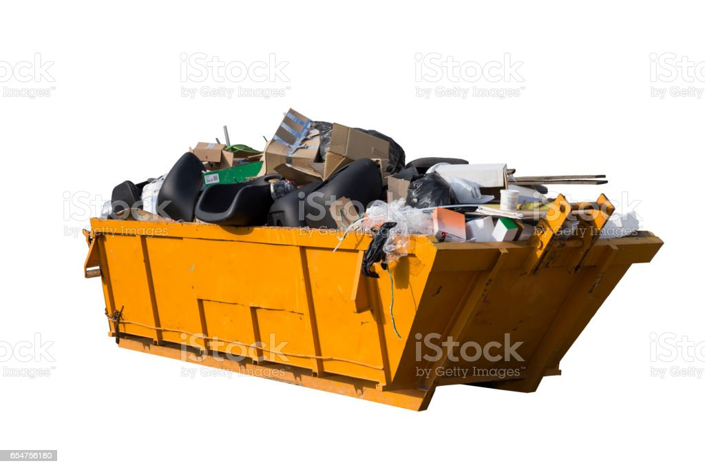rubbish container isolated on white stock photo