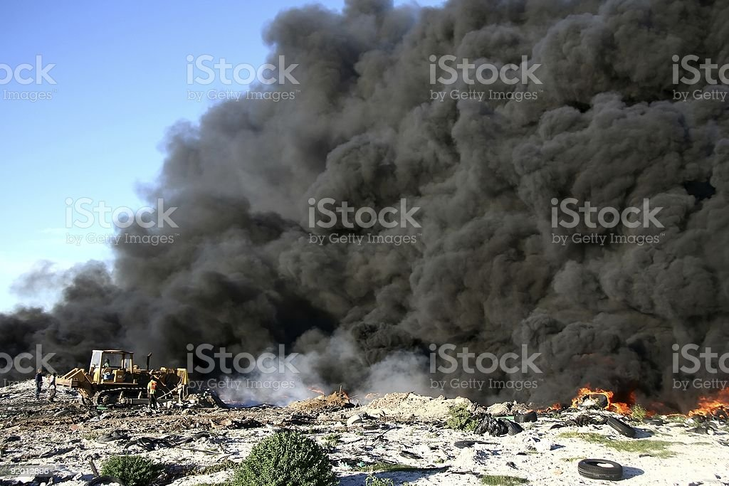 Rubbish Dump Fire stock photo