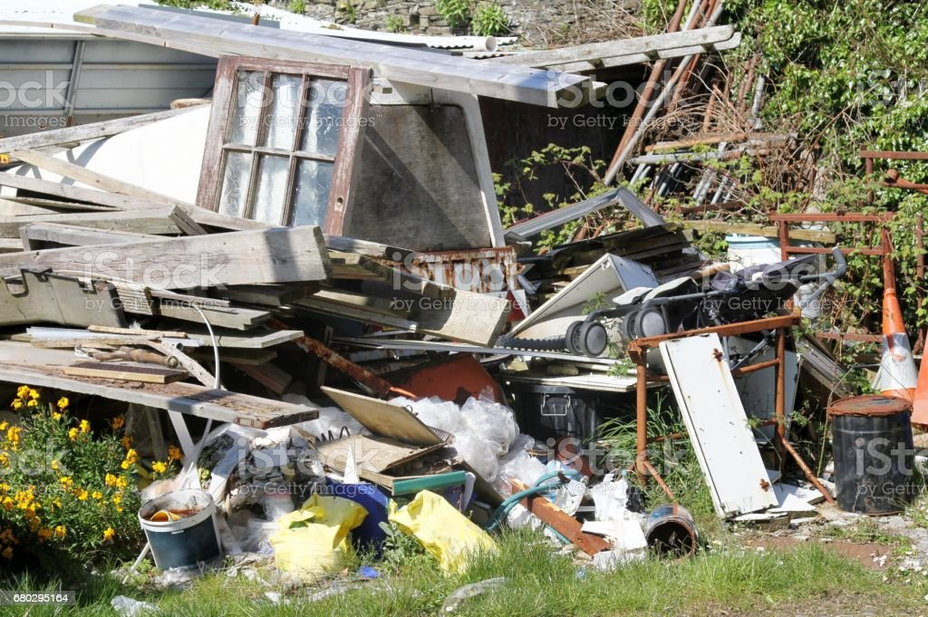 rubbish , fly tipping stock photo