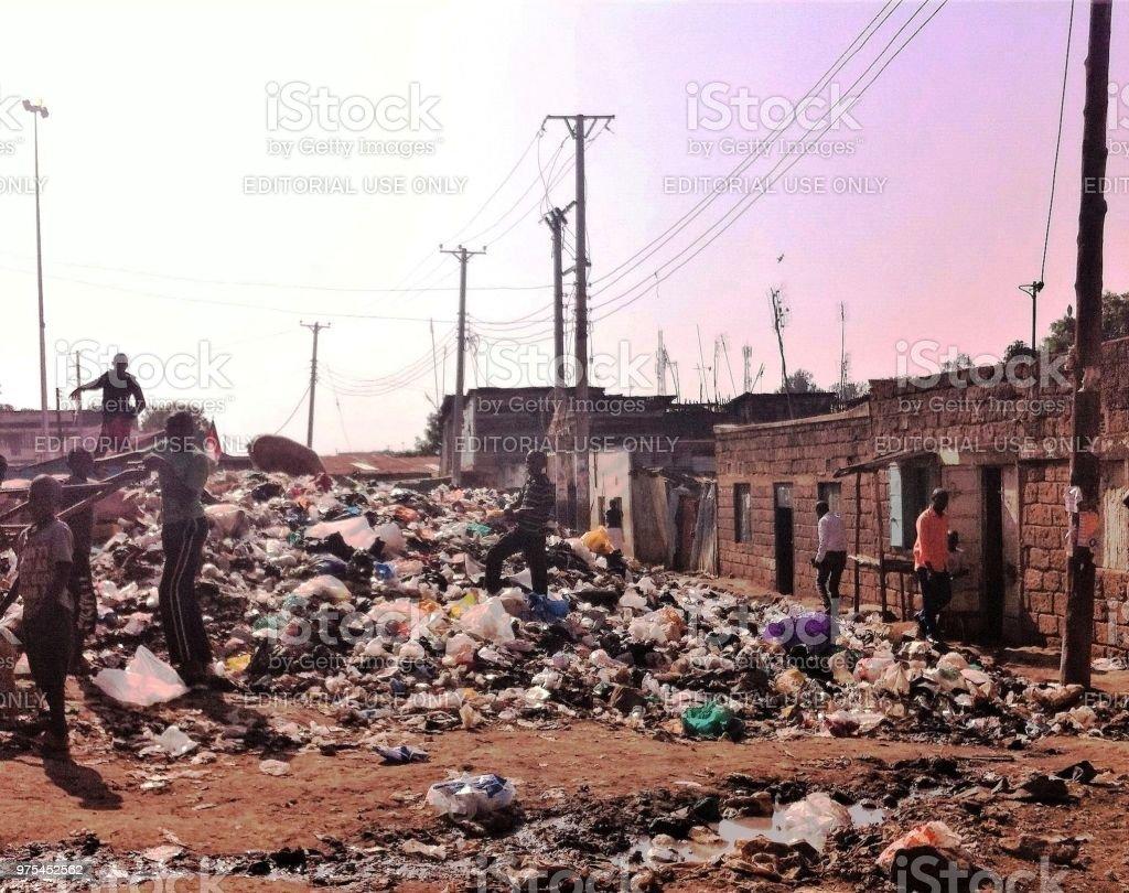 Rubbish heap in Nairobi slum stock photo