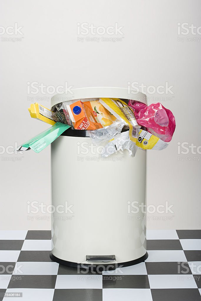Rubbish in a bin stock photo