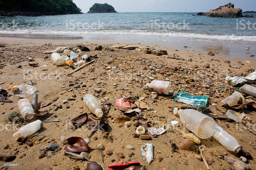 Ordures dans la plage. - Photo
