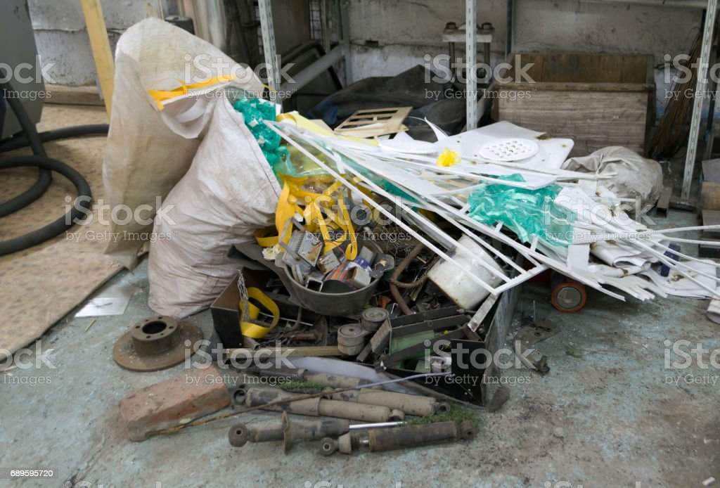 Rubbish in the studio. stock photo