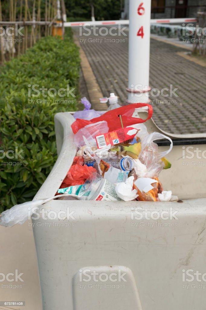 rubbish in trash can photo libre de droits
