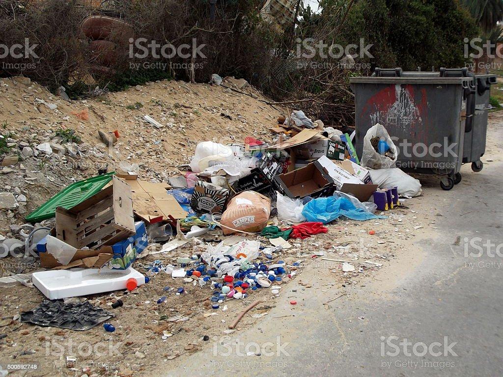Rubbish Tip and Bins stock photo