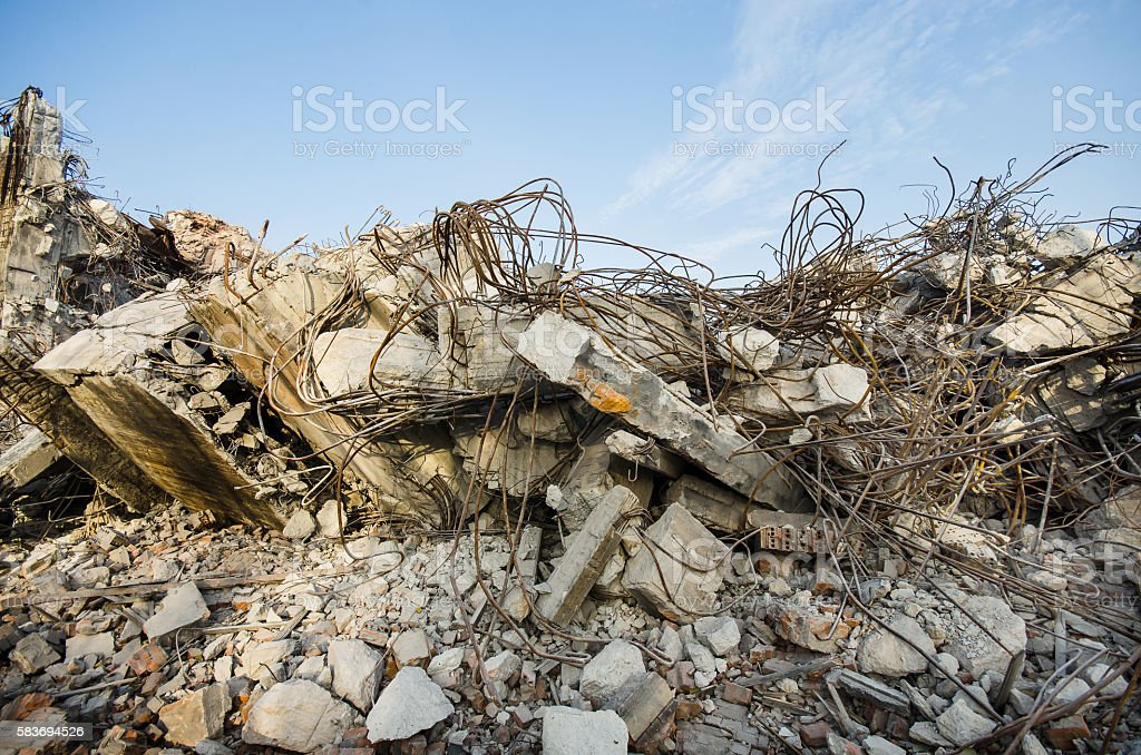 Rubble and scrap after demolition stock photo