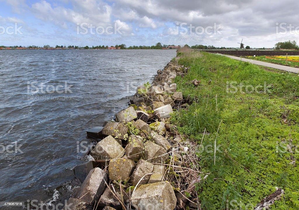 Rubble for shoreline protection stock photo