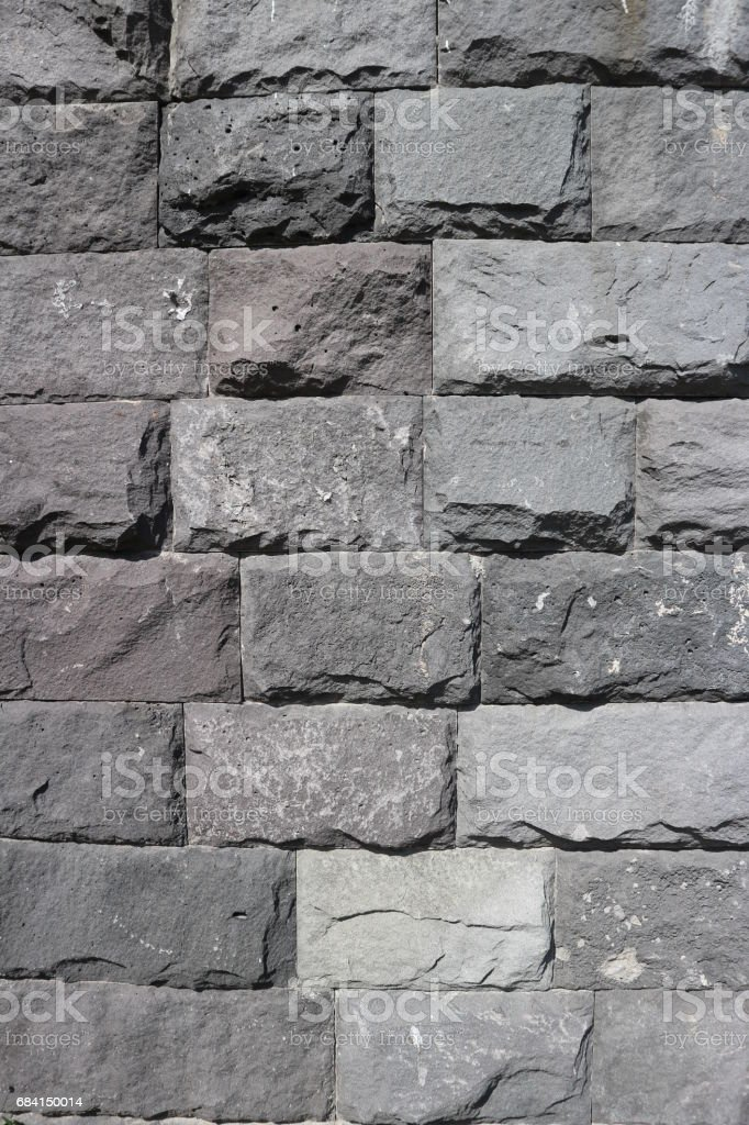 Rubble gray rectangular stone wall, rubblework. royalty-free stock photo