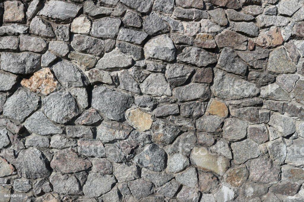 Rubble gray stone wall, rubblework. royalty-free stock photo