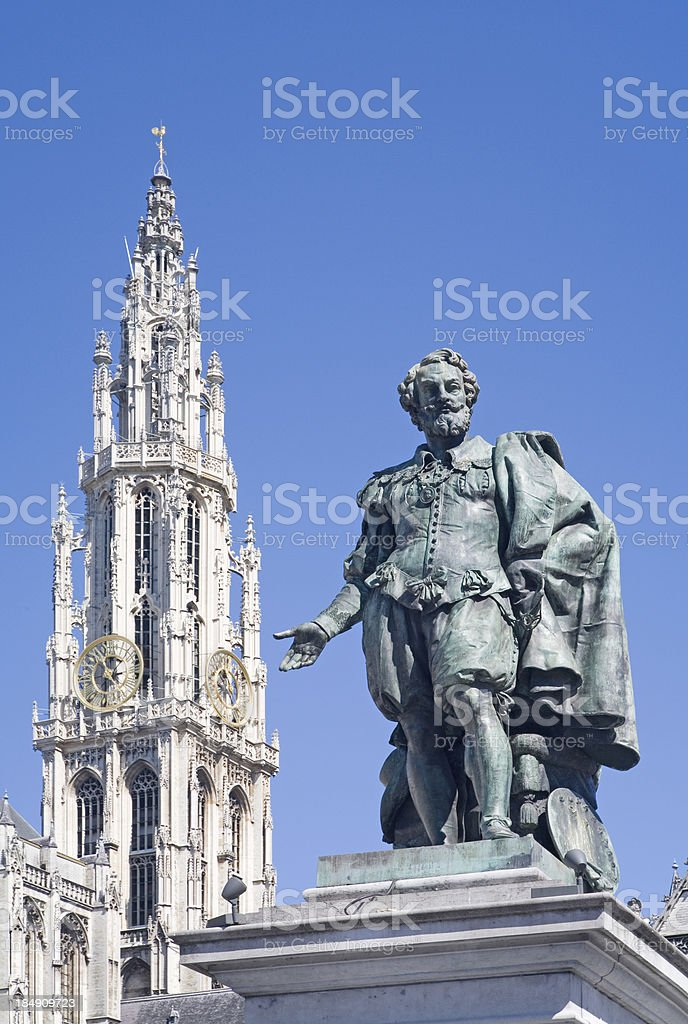 Rubens statue with cathedral in Antwerp royalty-free stock photo