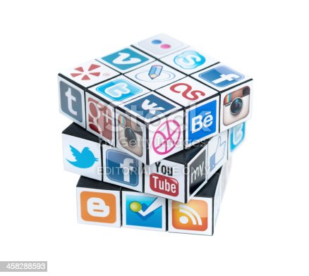 Kiev, Ukraine - February 2, 2013: A rubik's cube with logotypes of well-known social media brand's. Include Facebook, YouTube, Twitter, Google Plus, Instagram, Vimeo, Flickr, Myspace, Tumblr, Livejournal, Foursquare and other logos.