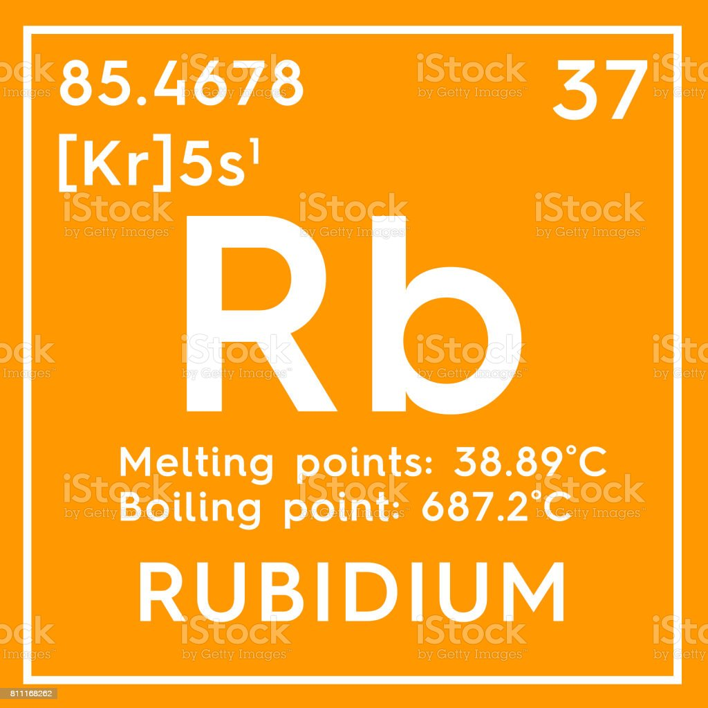 Rubidium. Alkali metals. Chemical Element of Mendeleev's Periodic Table. stock photo
