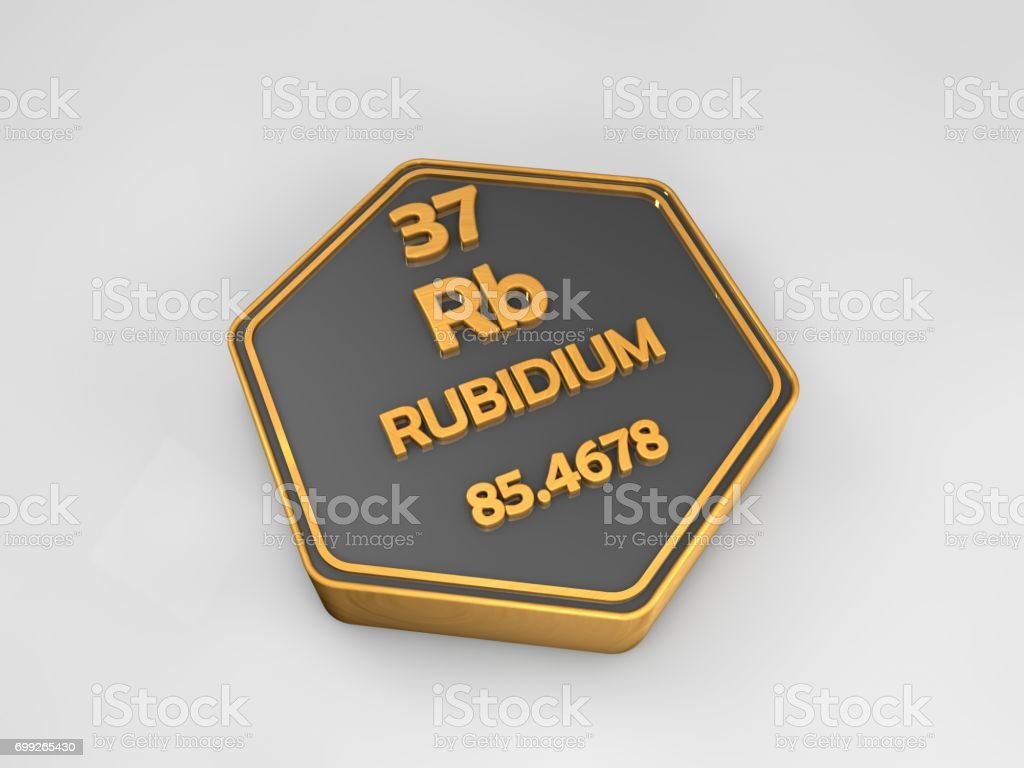 rubidium - Rb - chemical element periodic table hexagonal shape 3d render stock photo