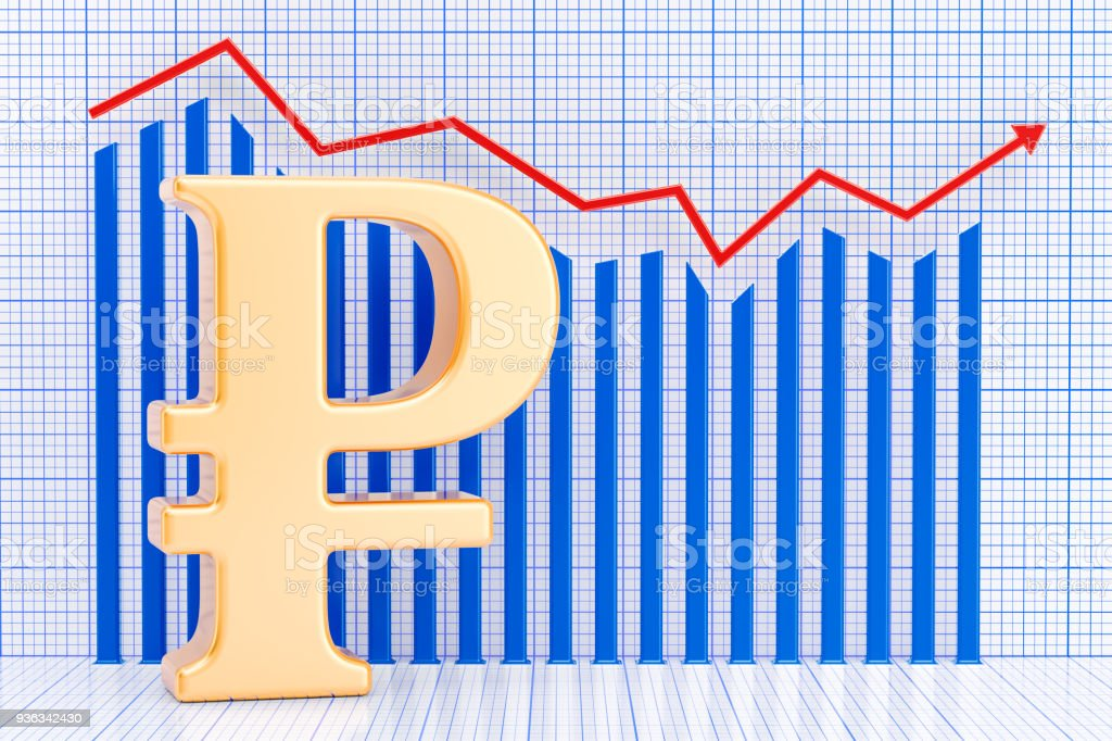 Ruble symbol with growing chart. 3D rendering stock photo