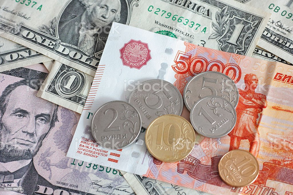 Rubles and dollars stock photo