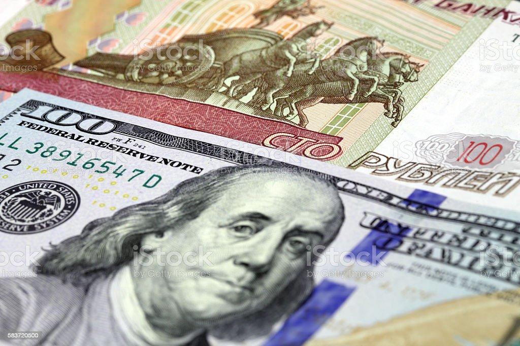 Billete de rublo y dólares - foto de stock