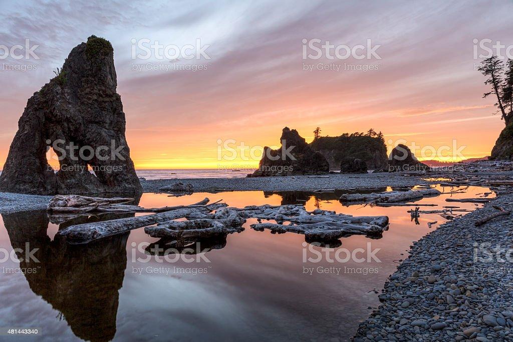 Ruby Beach Reflecting Pool Sunset stock photo