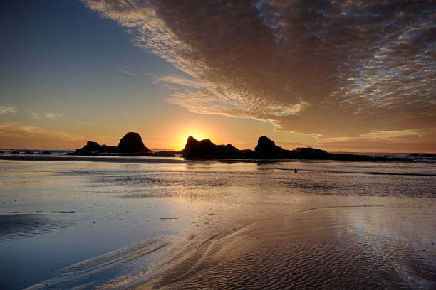 Ruby Beach Sunset with Clouds stock photo