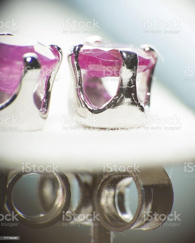 Ruby gem earrings royalty-free stock photo